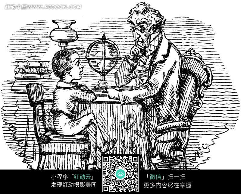 黑白画 桌子旁的老爷爷和小孩图片