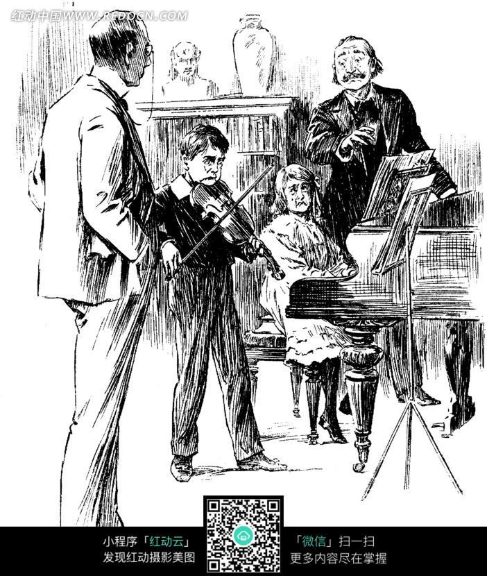 黑白画 拉小提琴的男孩和弹钢琴的女孩