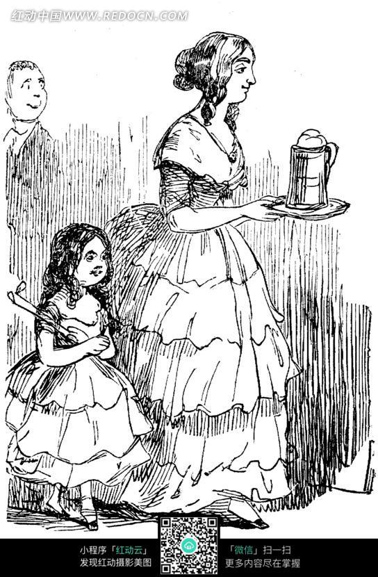 欧式漫画女佣和小女孩