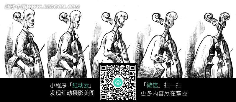 拉大提琴的音乐家黑白素描插画图片图片