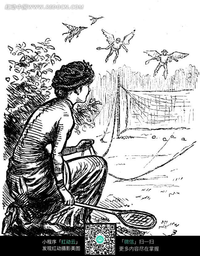 图片素材 漫画插画 人物卡通 插画—拿着网球拍蹲着的古代欧洲女人