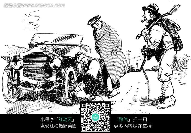修理汽车黑白素描插画