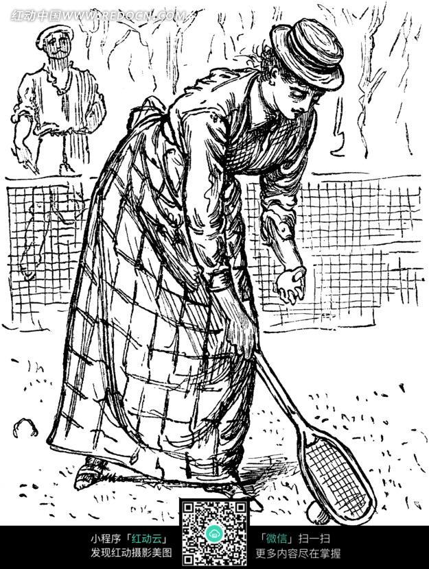 免费素材 图片素材 漫画插画 人物卡通 插画—低头捡球的古代欧洲女人