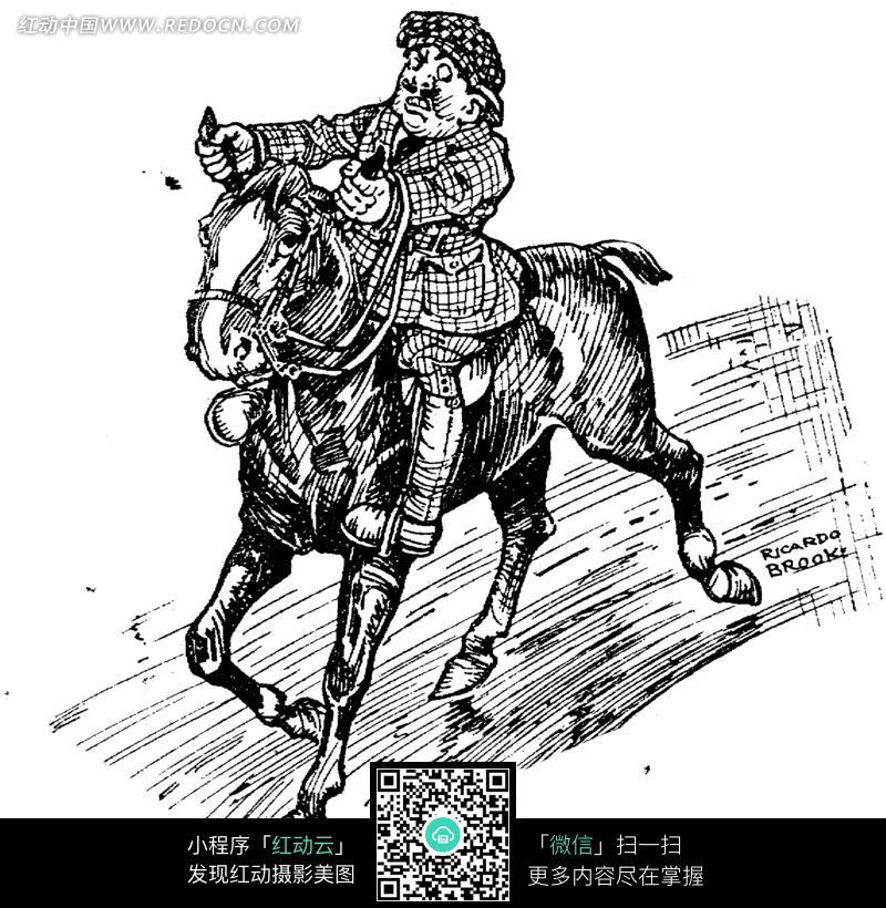 抓住马耳骑马的人黑白素描插画