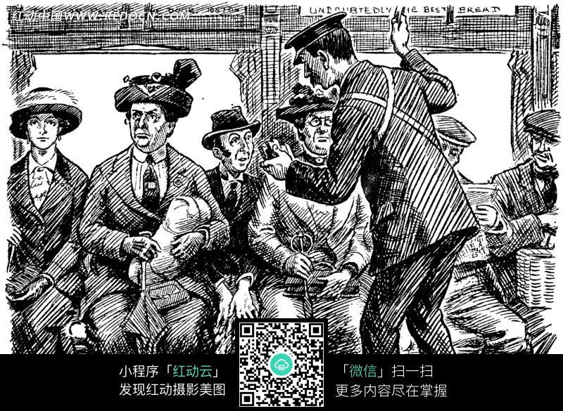 免费素材 图片素材 漫画插画 人物卡通 车厢里的乘客和乘务员油画