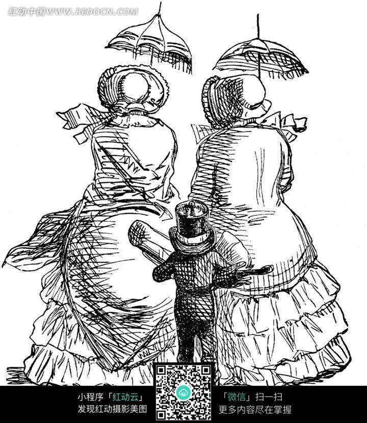 两个打着伞的女人和一个小孩背影