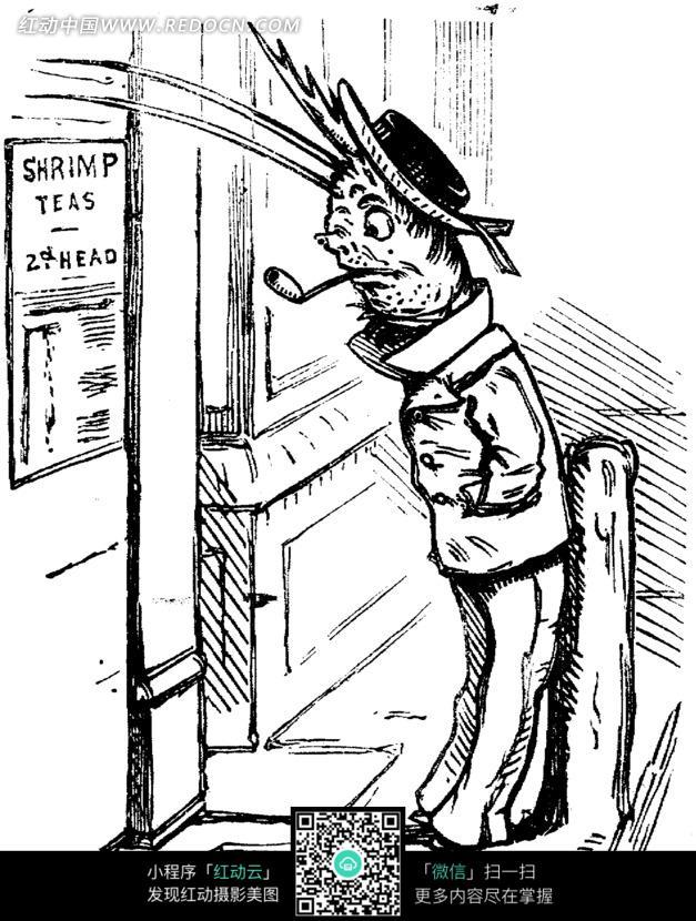 插画-抽烟斗的猪黑白素描插画