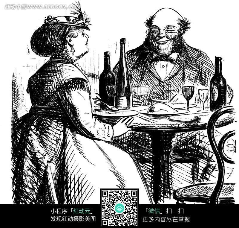 吃浪漫晚餐的夫妻黑白素描插画图片免费下载 红动网