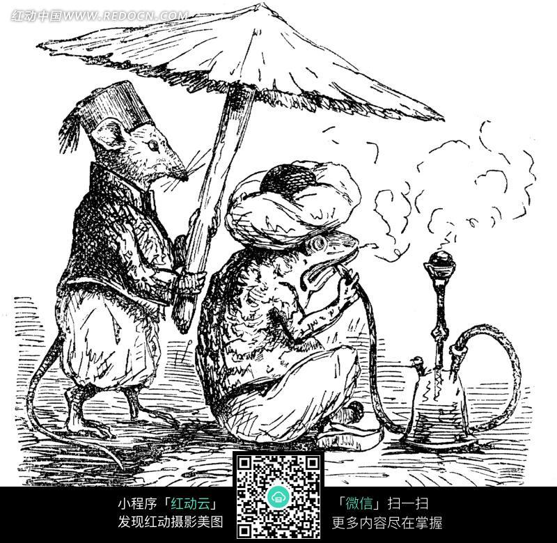 撑伞背影古风手绘线稿