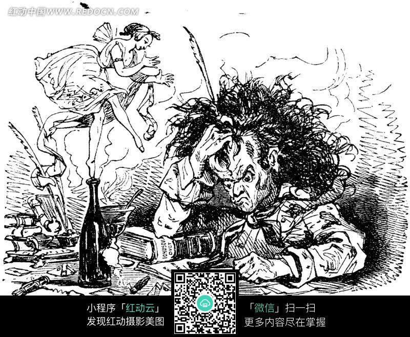 免费素材 图片素材 漫画插画 人物卡通 黑白画 念书念到抓狂的男子和