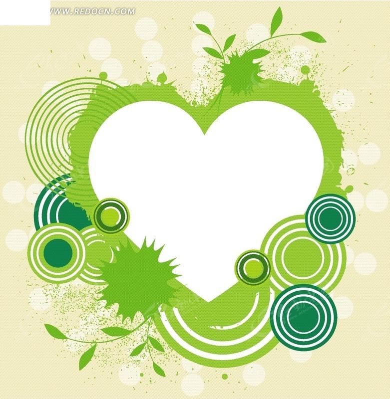 手绘绿色时尚波点圆圈心型矢量图eps免费下载_花纹