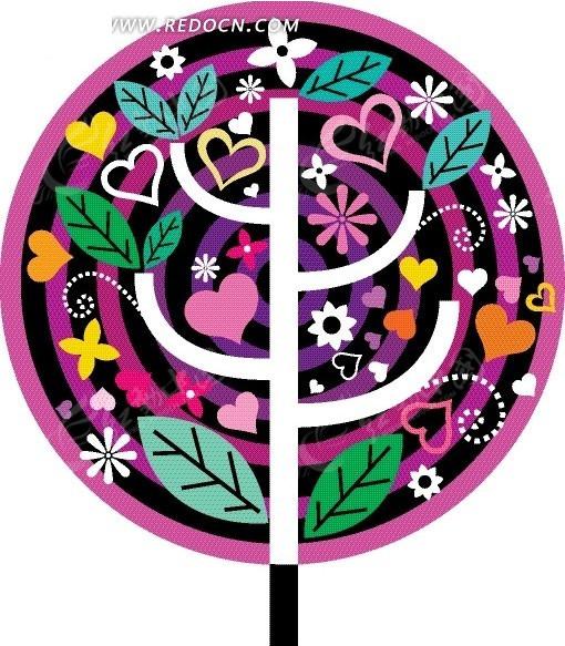 棒棒糖  植物剪影 树木 绿叶 树枝 圆环 矢量图 花纹 花纹素材 花边