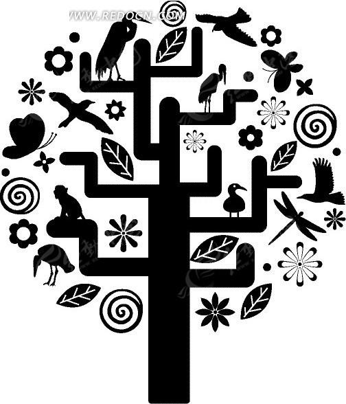花草和动物组成的树木矢量素材