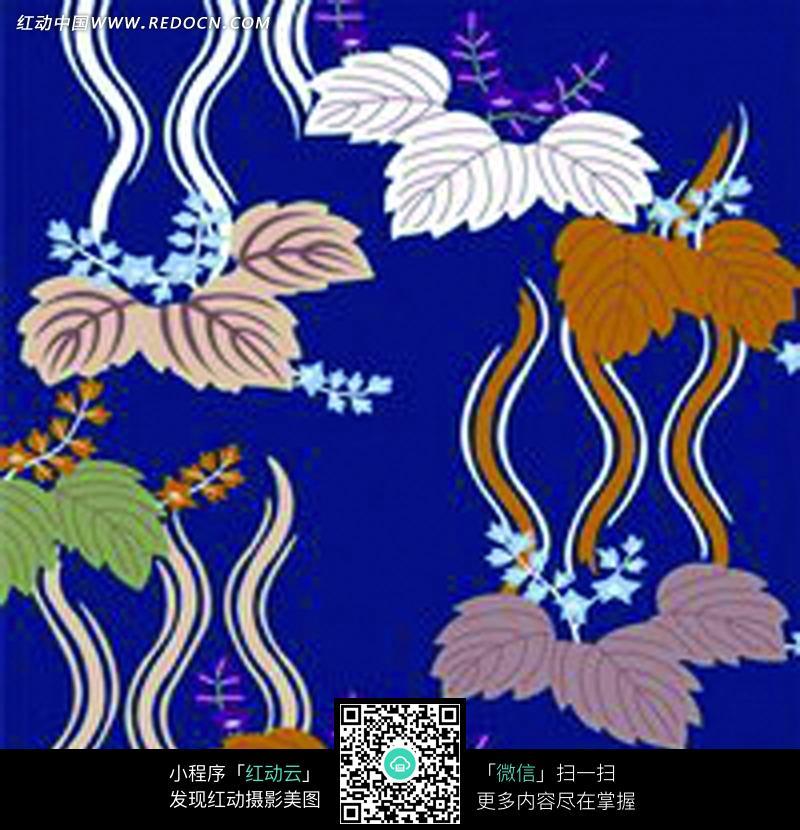 手绘彩色树叶背景图片