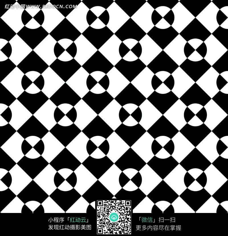 黑色背景白色方形四方连续图案图片