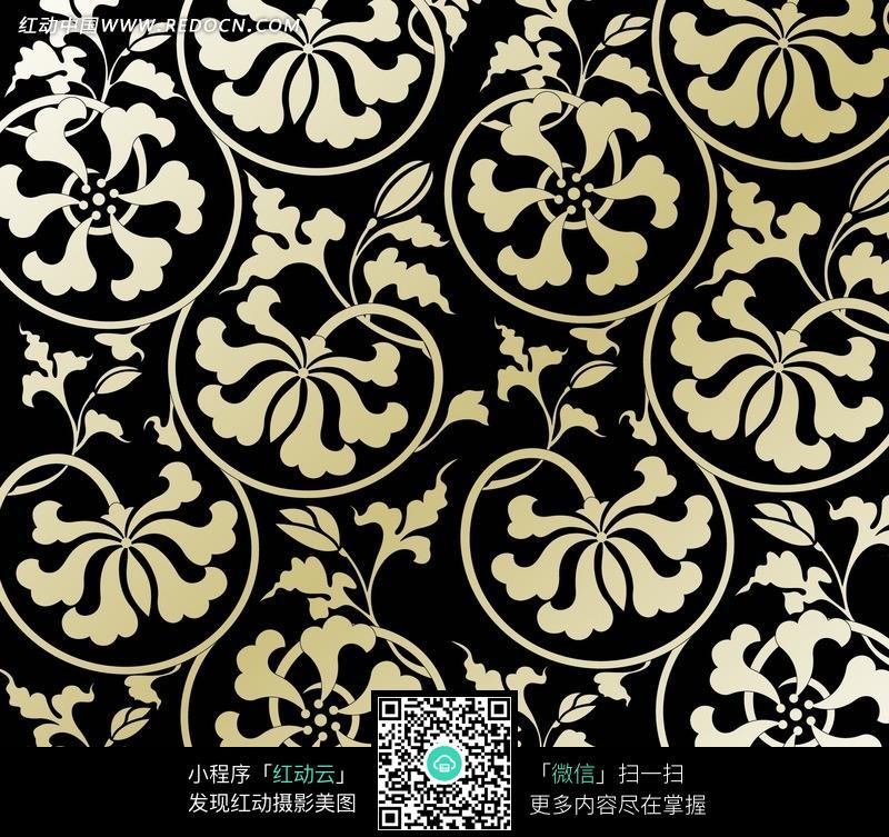黑色背景白色叶子四方连续图案_花纹花边图片