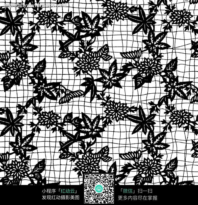 黑白色彩的枫叶等植物花纹