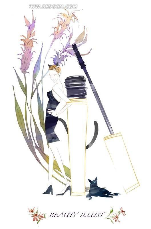 鲜花背景的猫女郎手绘分层素材