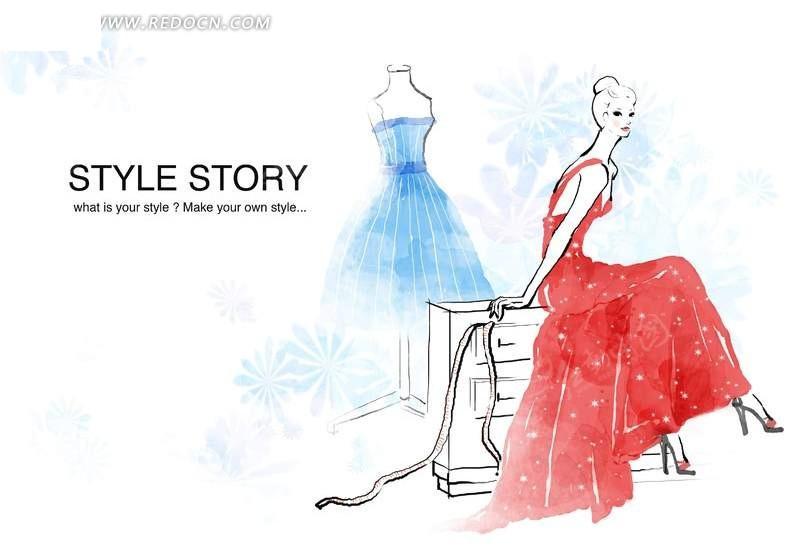 穿红裙的时尚水彩人物画psd分层素材