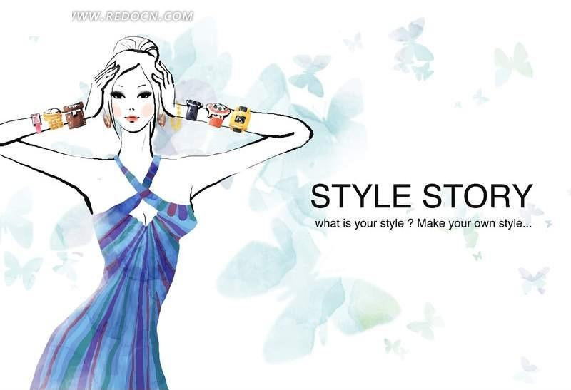 psd美女psd分层发型卡通素材手绘素材按着头发的双手晚礼服吊带方脸女人物图片