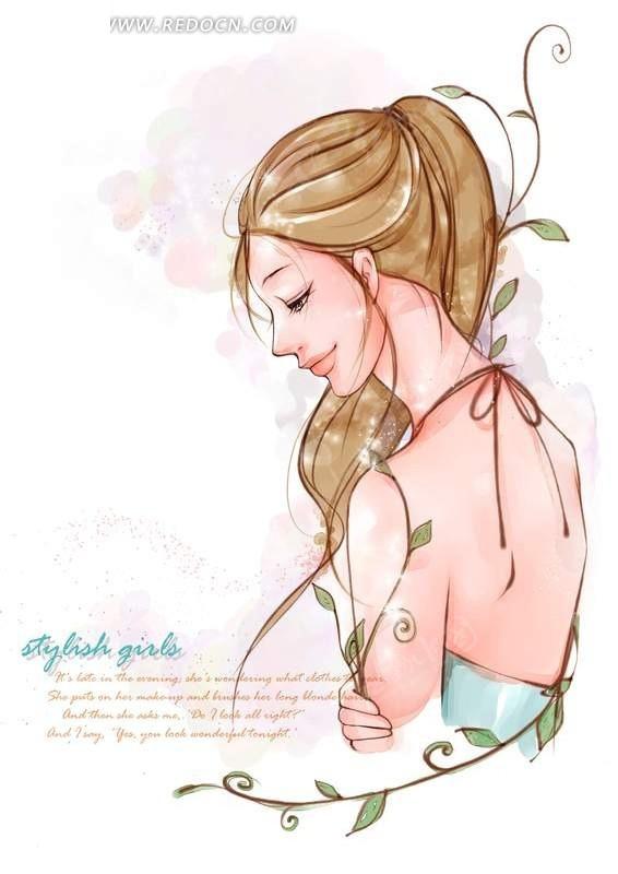 颔首侧身  梳马尾辫  时尚女孩  卡通人物  卡通  手绘插画人物  漫画