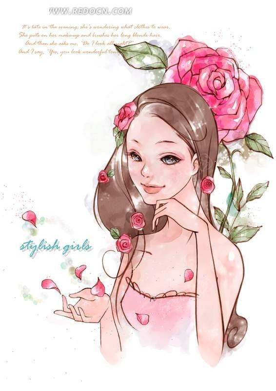 长发女孩与红艳的玫瑰
