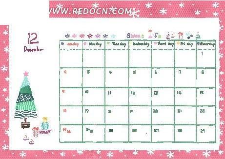 12月份卡能台历模板矢量图eps免费下载图片