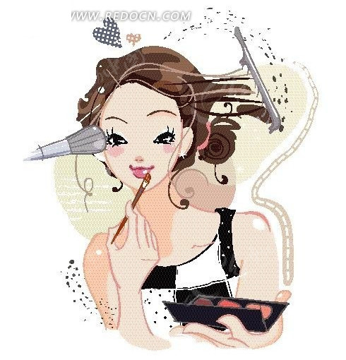 化妆的时尚女孩矢量图