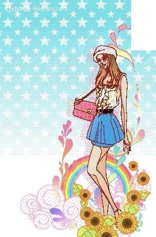 向日葵花围绕的长腿女孩 卡通人物矢量图下载      1232253; 卡通