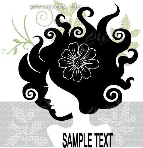 时尚植物卷发美女黑白头像矢量素材