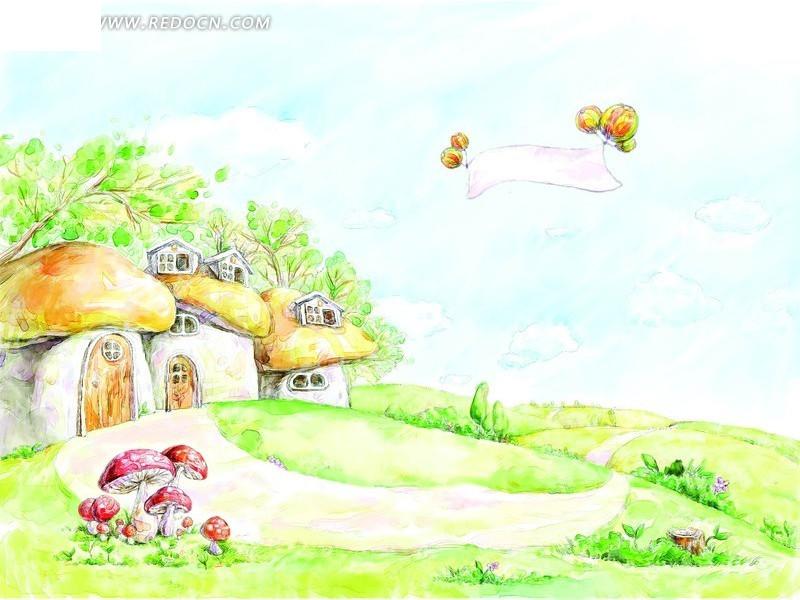 一幅春天的囹�._春天蘑菇房子卡通插画