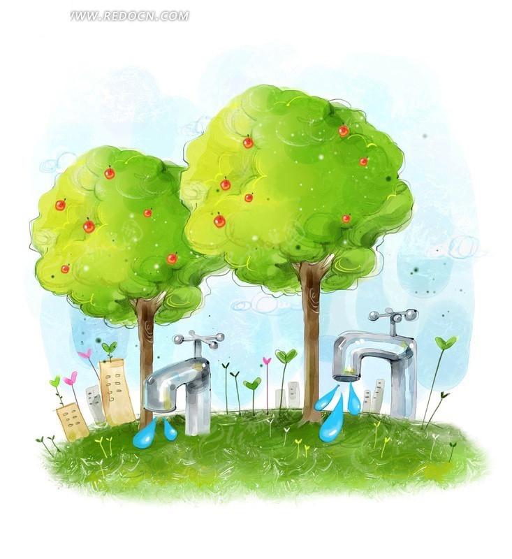 水龙头滴水在草地上卡通插画图片