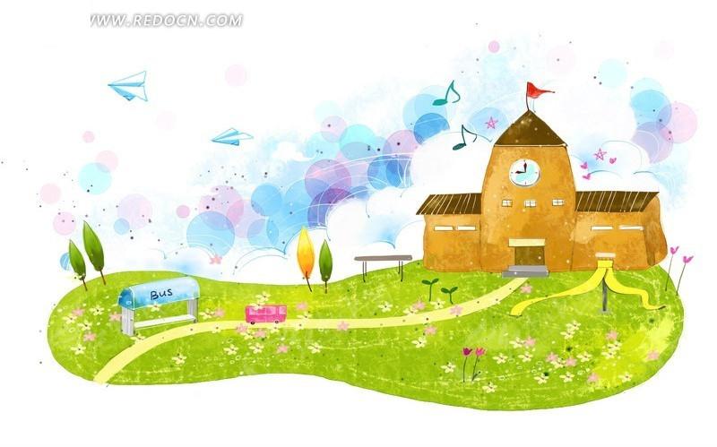 草地上的学校卡通插画