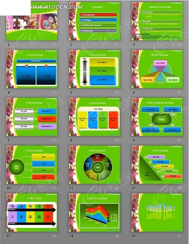 绿色背景数据图表分析ppt模板