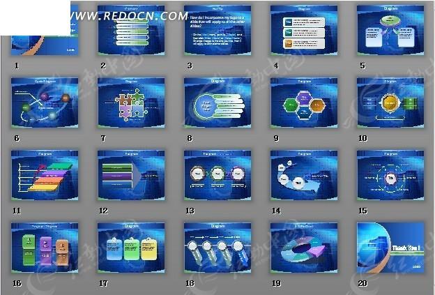 蓝色渐变背景商业数据分析报表图形ppt模版