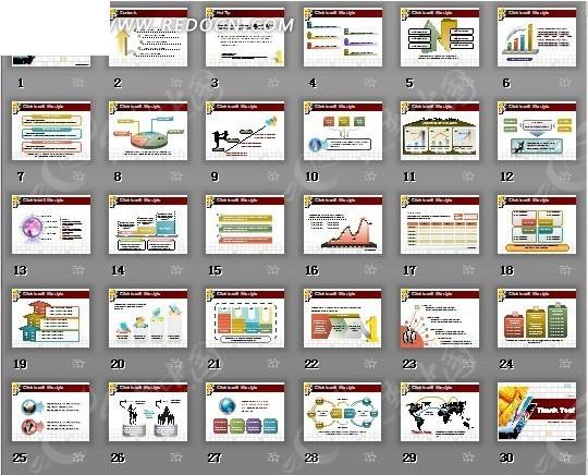 商业数据分析报表图形ppt模版设计