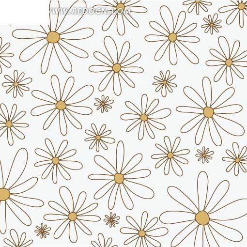 免费素材 矢量素材 花纹边框 底纹背景 手绘白色邹菊填充图案  请您