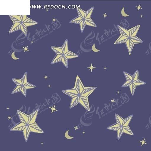 手绘蓝底白色线条星星月亮底纹底图矢量图
