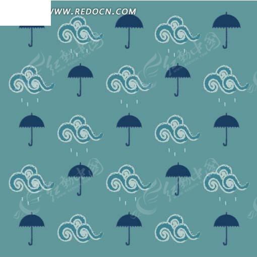 手绘下雨云纹及雨伞底图画布