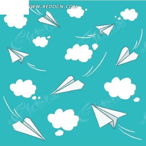 手绘白云蓝天及折纸飞机底图画布