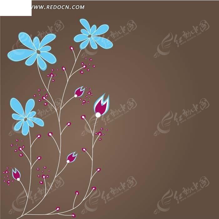 手绘藤蔓蓝色花朵红色果实