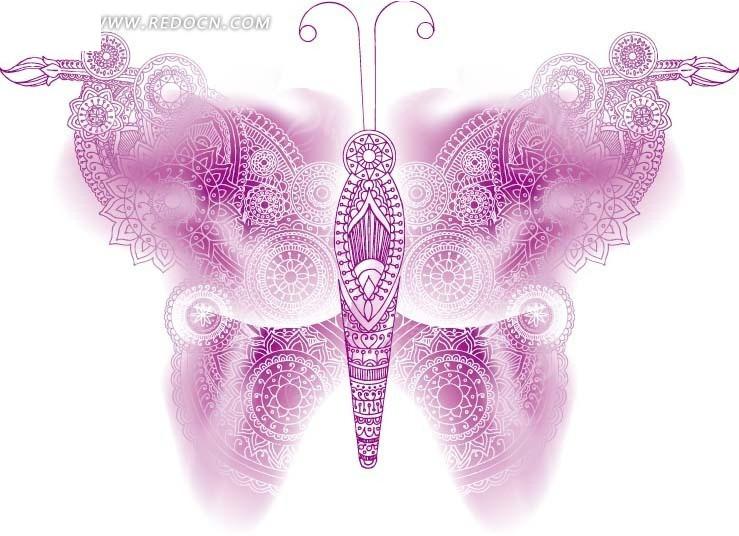 线条花纹手绘蝴蝶图片