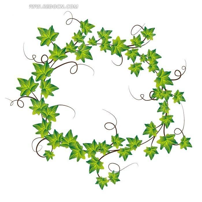 手绘一圈绿色藤蔓星形叶子