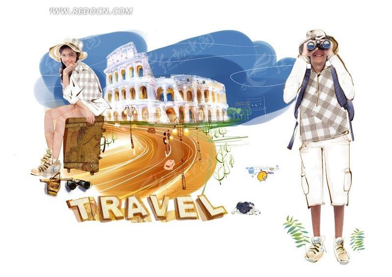 手绘 欧洲建筑 旅游 宣传海报