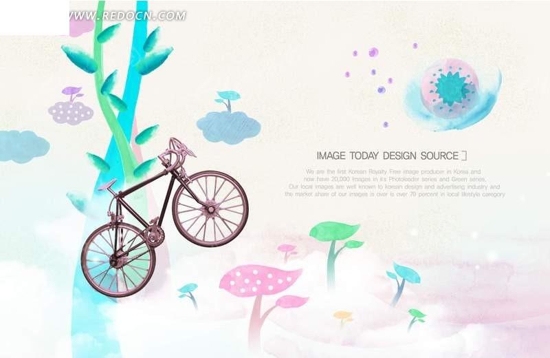 手绘自行车素材