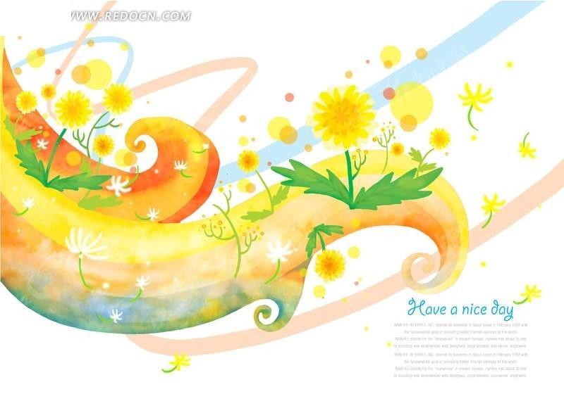 手绘黄色花朵插画