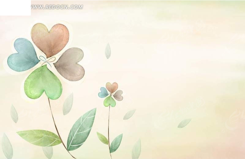 免费素材 psd素材 psd花纹边框 花纹花边 手绘四叶草插画  请您分享图片