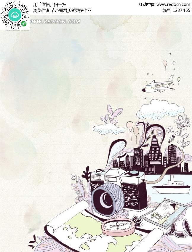 手绘摄像机和城市剪影