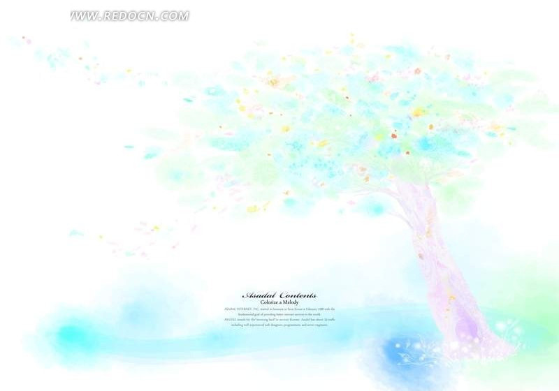 手绘树木 梦幻树木 梦幻色彩 彩色树木 五彩缤纷 色彩斑斓 梦幻卡通插