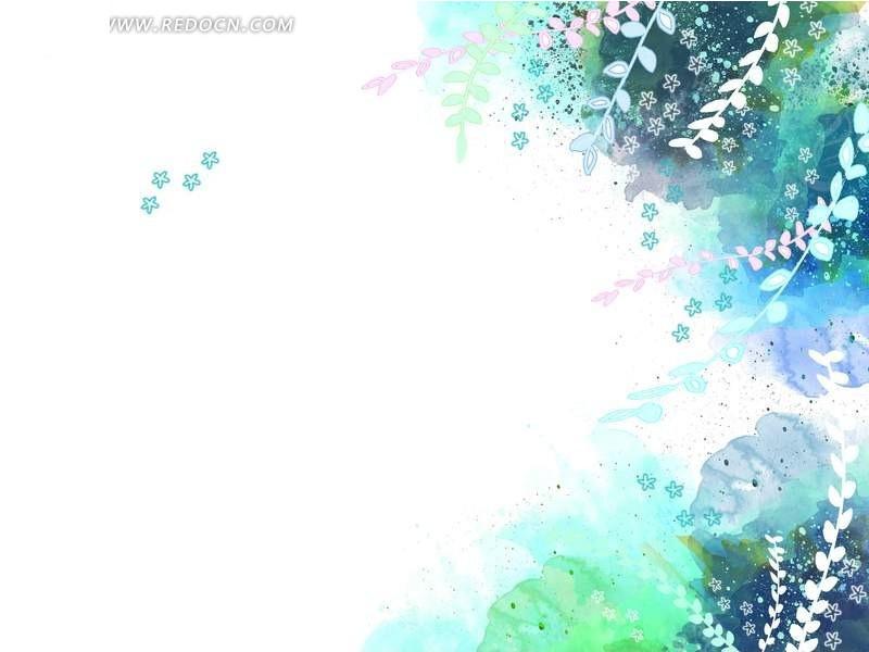 手绘蓝色花纹树枝背景图片